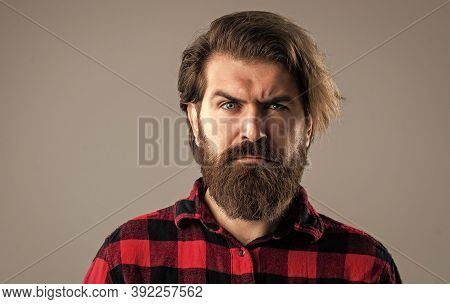 Mature Hipster With Beard. Brutal Caucasian Hipster With Moustache. Male Barber Care. Serious Bearde
