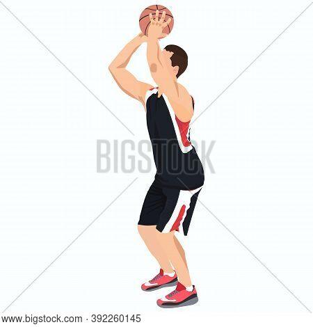Basketball Shooting Technique. Young Man Athlete, Professional Basketball Player Shooting Ball Into