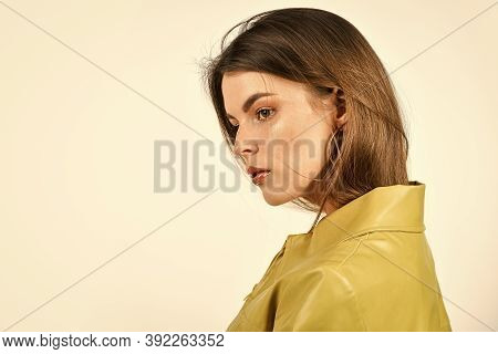 Autumn Style. Girl Wear Earrings. Her Casual Style. Woman Isolated On White. Sexy Woman Wear Leather