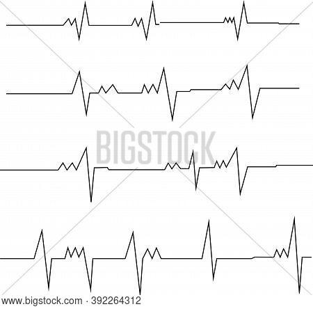 Black Lines Heart Rate Pulse Electrocardiogram Vector Illustration