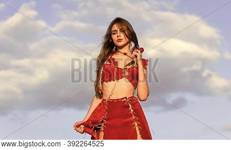 Wild Sexy Amazon Girl. Esotericism And Occultism. Spiritual Development. Woman Wear Leather Clothes
