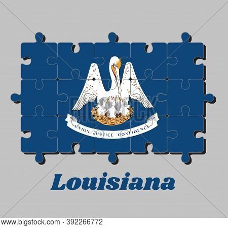 Jigsaw Puzzle Of Louisiana Flag, A Mother Pelican
