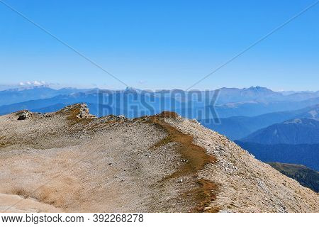 Sheer Cliffs Along The Summit Ridge Of Mount Oshten In The Western Caucasus, In The Republic Of Adyg