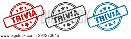 Trivia Stamp. Trivia Round Isolated Sign. Trivia Label Set