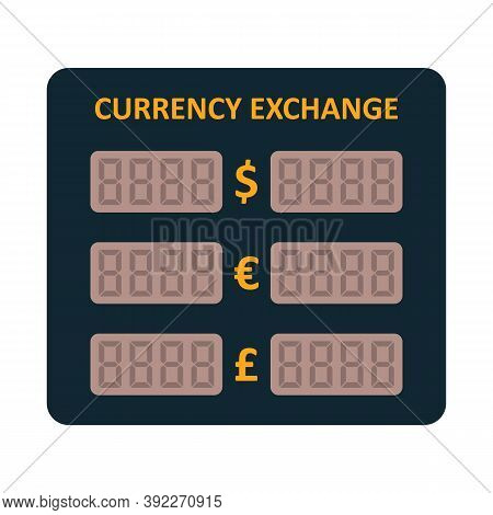 Electronic Led Currency Exchange Display. Foreign Currency Exchange Rates. Usd, Eur, Gbp Icon.
