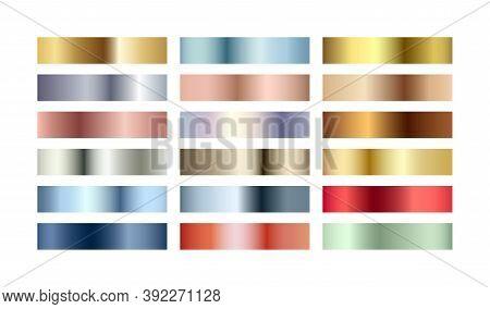 Metal Chrome Gradient Color Set. Metallic Rose Gold, Bronze, Silver, Elegant Blue, Green, Golden Swa