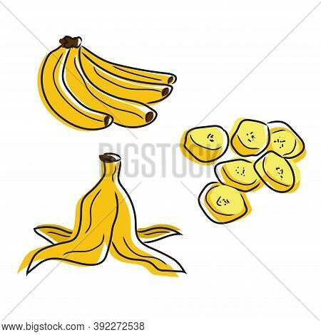 Set Isolated Bananas On A White Doodle Background. Banana Bunch, Banana Slices, Banana Peel. Hand Dr
