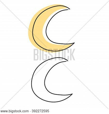 Yellow And Linear Moon With Outline Doodle Autumn Weather Hand Drawing.
