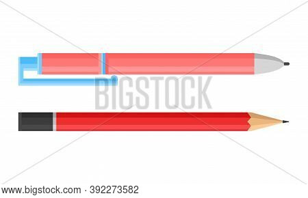 Pen And Graphite Pencil As Writing Or Drawing Instrument Vector Set