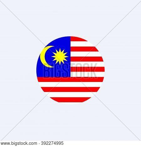 Malaysia Round Flag Icon. National Malaysian Circular Flag Vector Illustration Isolated On White.