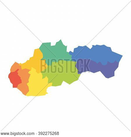Regions Of Slovakia. Map Of Regional Country Administrative Divisions. Colorful Vector Illustration.