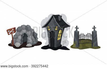 Gloomy Halloween House And Graveyard Gate Vector Set