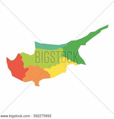 Districts Of Cyprus. Map Of Regional Country Administrative Divisions. Colorful Vector Illustration.