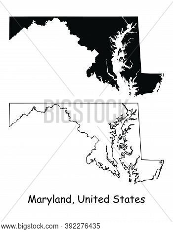 Maryland Md State Maps. Black Silhouette And Outline Isolated On A White Background. Eps Vector