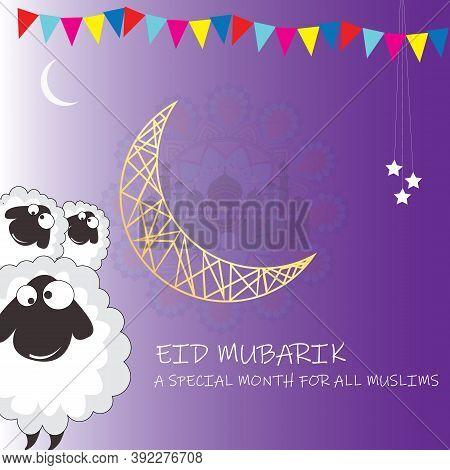 Eid-al-adha, Islamic Festival Of Sacrifice Concept With Happy Sheeps Moon And Creative Wallpaper Des