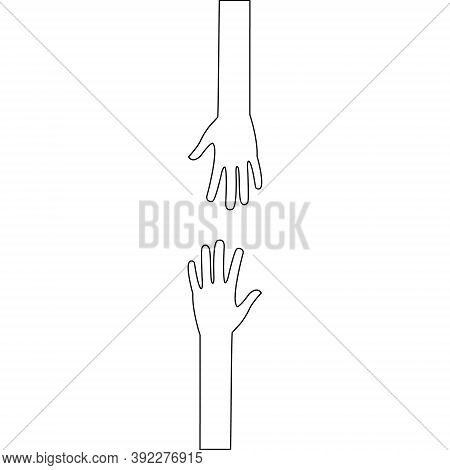 Two Outstretched Line Hands Icon. Black Linear Arms Outline. Help And Teamwork Concept Vector Illust