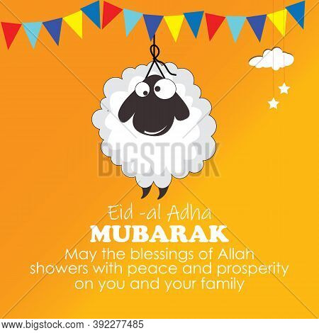 Eid-al-adha, Islamic Festival Of Sacrifice With Illustration Of Happy Sheep, And Clouds With Colorfu