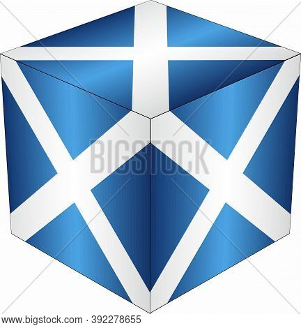Scotland Cube - Illustration,  Three Dimensional Flag Of Scotland