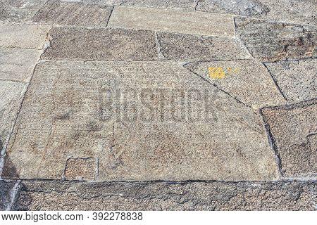 Old Historic Inscription In The Baseplates  At The Pagoda  Isurumuniya Vihara