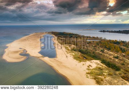 Aerial landscape of the seagull sandbank at Baltic Sea in Sobieszewo, Poland
