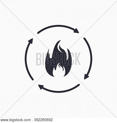 Metabolic Process Icon. Burn Icon. Metabolism And Organism Synthesis.