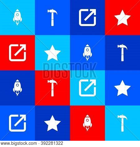 Set Rocket Ship With Fire, Hammer, Open In New Window And Star Icon. Vector