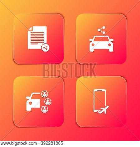Set Share File, Car Sharing, And Flight Mode The Mobile Icon. Vector