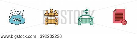 Set Co2 Emissions In Cloud, Car Sharing, And Share File Icon. Vector