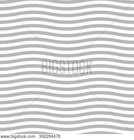 Grey Wavy Lines. Jagged Stripes. Seamless Surface Pattern Design With Sine Waves Ornament. Repeated