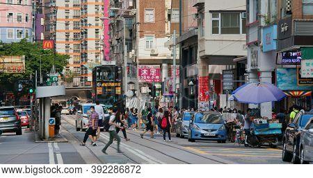 Wan Chai, Hong Kong 06 September 2020: Hong Kong city street