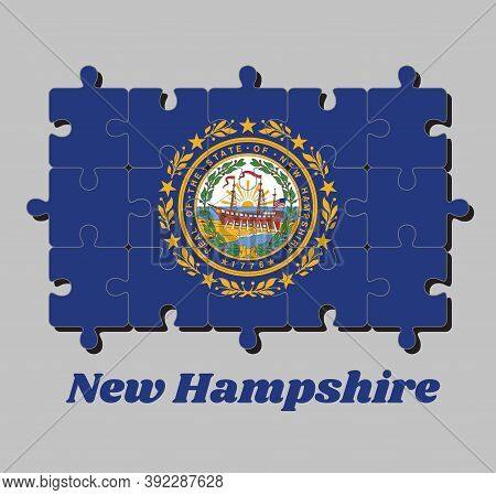 Jigsaw Puzzle Of New Hampshire Flag, The State Seal Of New Hampshire On A Blue Field Surrounded By L