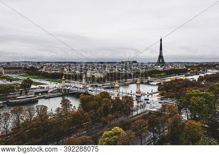 Eiffel tower over the river the Seine and the alexander bridge