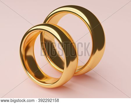 Two Wedding Gold Rings Lie Next To Each Other. Love Concept. 3d Rendering
