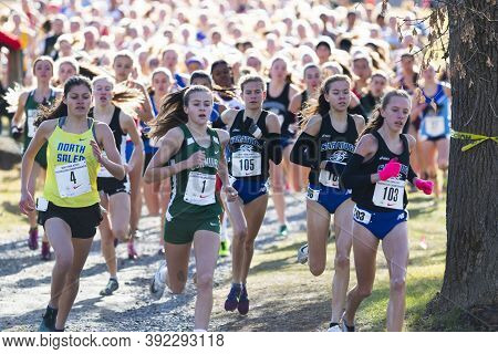 Wappingers Fall, Ny, Usa - 23 November 2019: Three Hundred Girls Four Hundred Meters Into A 5k Race