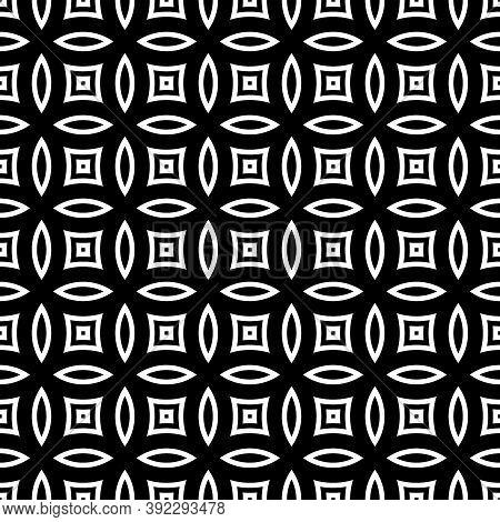 White Figures Tessellation On Black Background. Image With Oval And Quadrangular Shapes. Ethnic Arab