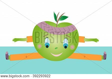 Green Apple Vector Doing Sports And Sits On A Twine.