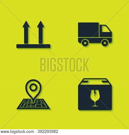 Set This Side Up, Delivery Box With Fragile Content, Placeholder Map And Cargo Truck Vehicle Icon. V
