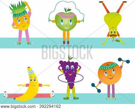 Fruits Are Depicted On A White Background. Fruits Vector Are Athletes And Play Sports. Apple, Banana