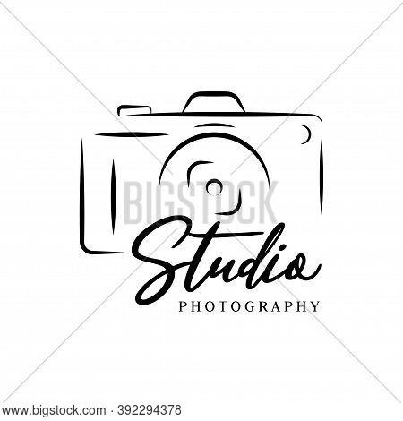 Hand Drawn Camera Photography Logo Studio Vector Illustration