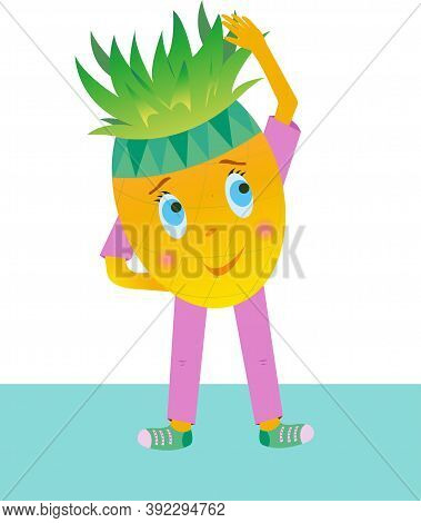 Pineapple Vector Makes The Slopes. Pineapple Dressed In Violet Sportswear On A White Background. Pin