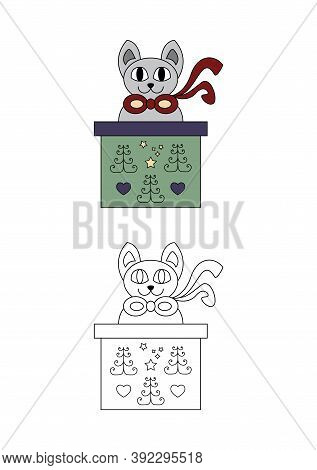 Christmas Coloring Page. Cat Coming Out Of A Gift Box. Coloring For Kids.