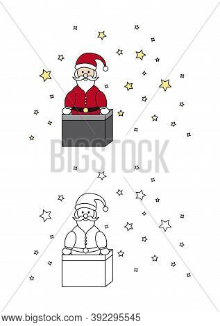 Christmas Coloring Page. Santa Claus Coming Out Of The Fireplace. Coloring For Kids.