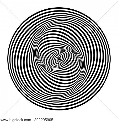 Illusion of spiral swirl movement. Abstract design element. Op art lines pattern.
