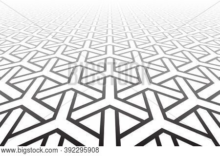 Abstract geometric pattern. Diminishing perspective. White textured background.