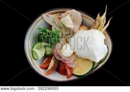 Salad with fluffy egg omelette and turkey fillet, healthy food, isolated
