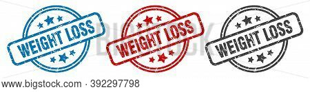 Weight Loss Stamp. Weight Loss Round Isolated Sign. Weight Loss Label Set