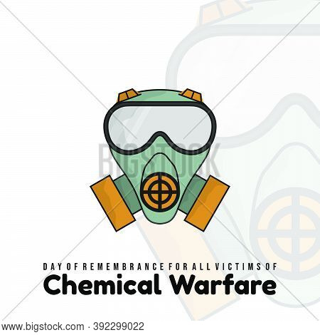 Day Of Remembrance For All Victims Of Chemical Warfare Design With Gas Mask Vector Illustration.