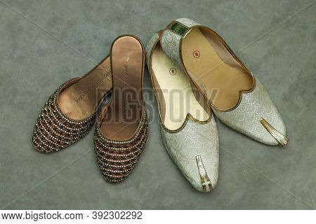 Wedding Shoes And Sneakers Beautiful Stock Photo