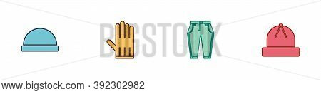 Set Beanie Hat, Leather Glove, Pants And Winter Icon. Vector