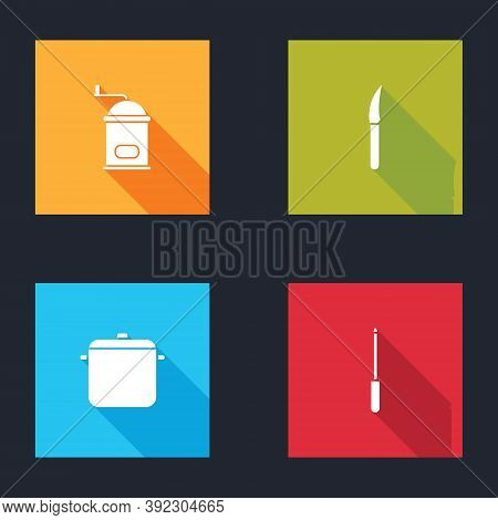 Set Manual Coffee Grinder, Knife, Cooking Pot And Sharpener Icon. Vector